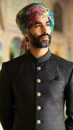 From winter the Sabyasachi menswear line introduces a new house classic- our quilted silk sherwani in hand-dyed Murshidabad silk and… Mens Indian Wear, Indian Groom Wear, Indian Men Fashion, Indian Man, Mens Fashion, Wedding Dresses Men Indian, Groom Wedding Dress, Sabyasachi Collection, Achkan