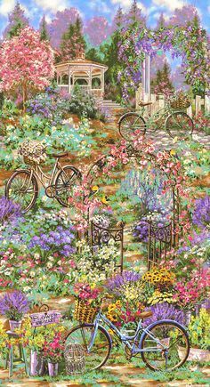 Flower Market - Garden Bicycle Ride - 24 x 44 PANEL Quilt fabric online store Largest Selection, Fast Shipping, Best Images, Ship Worldwide Fabric Flower Brooch, Fabric Flowers, Decoupage, Minerva Crafts, Panel Quilts, Flower Market, Pictures To Paint, Fabric Panels, Fabric Painting