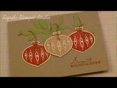 Tutorial - Weihnachtskarte mit Ornament-Stanze und Zweig - Stampin' Up!