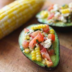 Corn and tomato stuffedavocados