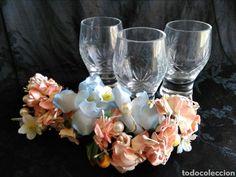 Vasos de chupito o anís en cristal tallado de Cartagena Santa Lucia, años 50. 60