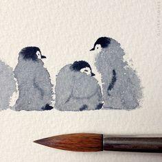 Cute Penguins Watercolor