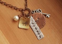 Mothers Necklace  Hand Stamped Mixed Metal Charm by allmyheartshop, $38.00