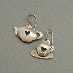 Far Fetched STERLING Teapot Cup HEART Earrings by YearsAfter