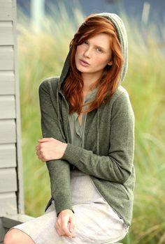 Cashmere Zip Hoody | Brora ~ this heather green (not the model)