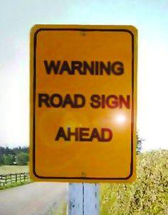 warning road sign ahead