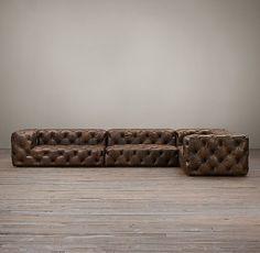 Soho Tufted Leather Customizable Sectional   Restoration Hardware