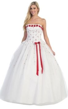 White Ball Gown Strapless Natural Long/Floor-length Sleeveless Bow Tulle Quinceanera Dress Dress