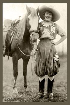 Cowgirl Prairie Rose Photo 1915. Vintage postcard image printed on cotton by American Quilt Blocks. Ready to sew. Single 4x6 block $4.95. Set of 4 blocks with pattern $17.95.