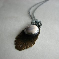Sterling silver and brass necklace metalwork bezel by noblegnome, on Etsy.com