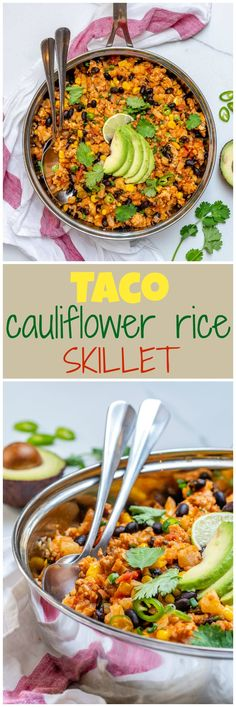 This Taco Cauliflower Rice Skillet is Bursting with Flavor! - This Taco Cauliflower Rice Skillet is Bursting with Flavor! Vegan Recipes Easy, Clean Recipes, Mexican Food Recipes, Clean Foods, Budget Recipes, Spicy Recipes, Family Recipes, Healthy Cooking, Healthy Eating