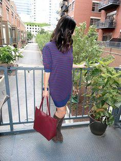 Stripe Muse Dress & Red Purse | High Heel Hydrangeas  instagram.com/highheelhydrangeas