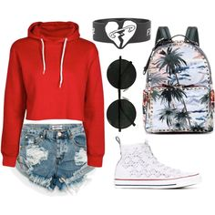 girl by kfirinidoy on Polyvore featuring polyvore, fashion, style, One Teaspoon, Converse, Valentino and clothing