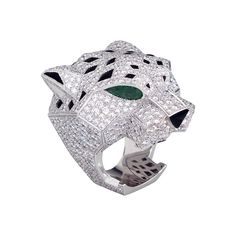 Cartier Panthère ring with diamonds, emeralds, and onyx in white gold (=)