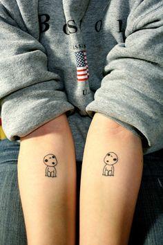 Kodama tattoo for my love of Studio Ghibli and since kodama are known as nature spirits in Japan Trendy Tattoos, Cute Tattoos, Beautiful Tattoos, Body Art Tattoos, Small Tattoos, Tatoos, Tiny Tattoo, Hp Tattoo, Arrow Tattoos
