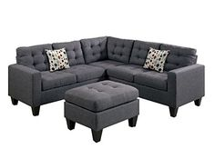 living room sectional sofa - Poundex Bobkona Norton Linen-Like 4 Piece Sectional with Ottoman Set, Blue Grey living room furniture arrangement ideas Read more at the image link. Modular Sectional Sofa, Sofa Couch, Corner Sectional, Modern Sectional, Sofa Set, Couches, Grey Sectional, Couch Redo, Comfy Sectional