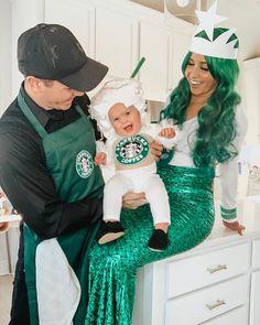 Family Costumes For 3, Cute Halloween Costumes For Teens, Mermaid Halloween Costumes, Girl Halloween, Halloween 2020, Halloween Ideas, Starbucks Halloween Costume, Cute Diys, Barista