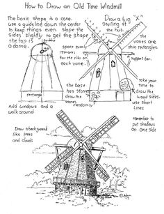 How to draw an old time windmill printable worksheet