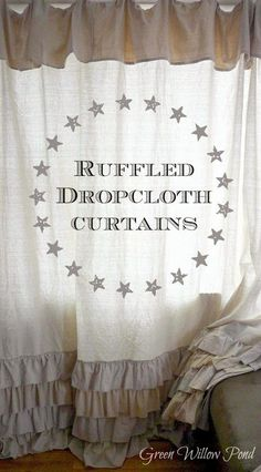 Feature from my weekly link party ~ Project Inspire{d} ~ Ruffled Dropcloth Curtains from Green Willow Pond #projectinspired