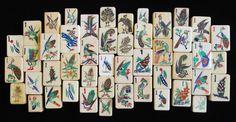 1 Bam Bird Collection, Mah Jong tiles of ivory, bone & bamboo, bone & ebony.