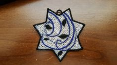 7 Point Star Freestanding Lace Ornament Machine Embroidery Design by LightsOutCreations on Etsy Embroidering Machine, Machine Embroidery Designs, Badge, Lights, Stitch, Ornaments, Stars, Sewing, Color