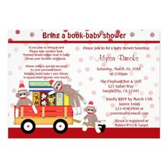 Shop Bring a book baby shower invitation sock monkey created by MonkeyHutDesigns. Personalize it with photos & text or purchase as is! Sock Monkey Baby, Sock Monkey Birthday, Monkey Birthday Parties, Baby Birthday, Baby Shower Invitations For Boys, Baby Shower Themes, Baby Boy Shower, Monkey Invitations, Shower Ideas
