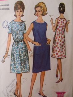 Vintage McCall's 7229 Sewing Pattern, 60s Flared Dress, 1960s Dress Pattern,Pockets, Bust 39, 1960s Sewing Pattern, Vintage Sewing Supply