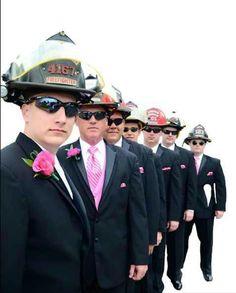 Use plastic Jr Firefighter helmets for groomsmen who aren't firefighters Fireman Wedding, Firefighter Wedding, Firefighter Love, Volunteer Firefighter, Wedding Poses, Wedding Photoshoot, Wedding Ideas, Firefighter Pictures, Wedding Pictures
