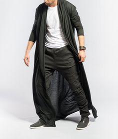 Mens kimono cardigan / Longline Cardigan / Long black cardigan ...