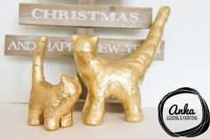 Two gilded cats. Happy family. The unique statues and eye-catching accent. Interesting gift idea & great home decor in Xmas holiday season by ankaGilding on Etsy