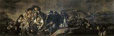 """Francisco de Goya  La romería de San Isidro  (Muestra las constantes estilísticas más  características de las """"Pinturas negras"""")"""