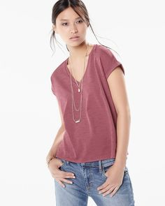 Elevate your casual dressing with this v-neck t-shirt featuring a mesh insert and a drapy look. Regular body length. Straight bottom hemline.