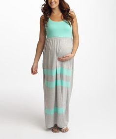 Another great find on #zulily! PinkBlush Gray & Mint Stripe Maternity Maxi Dress #zulilyfinds
