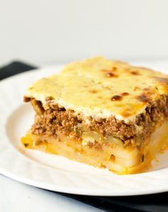 I miss moussaka. Moussaka by Brown Eyed Baker Greek Dishes, Main Dishes, Good Food, Yummy Food, Tasty, Spiced Beef, Think Food, Comfort Food, Casserole Recipes