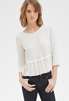 Pintucked Pleat-Hem Blouse | FOREVER21 - 2000118215