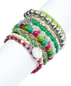 Look at this #zulilyfind! Pink & Green Chevron Stretch Bracelet Set #zulilyfinds