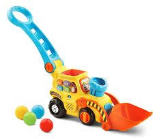 VTech Pop-a-Balls Push & Pop Bulldozer Pop, drop and watch your little one stroll along with the pop-a-balls push & pop bulldozer by VTech! This delightful bulldozer encourages movement and. Learning Toys For Toddlers, Toddler Learning, Toddler Toys, Toys For Boys, Baby Toys, Kids Toys, Baby Play, Toys R Us, Elliev Toys
