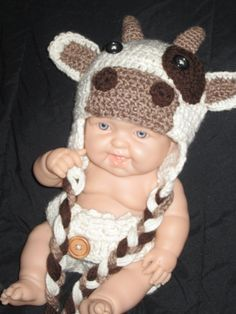 Crochet Baby Photo Prop Cow Beanie Hat & Diaper Cover Set For a Boy