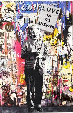 Mr Brainwash Albert Einstein Love popart banksy warhol batman art
