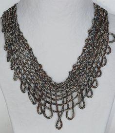 Grey Net Necklace sewn with Dull Grey Silk Yarn by JoyasTextiles, €40.00