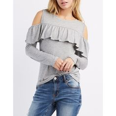 Charlotte Russe Ribbed Ruffle-Trim Cold Shoulder Top (2115 RSD) ❤ liked on Polyvore featuring tops, sweaters, heather gray, open shoulder sweater, ribbed sweater, crewneck sweaters, ruffle sweater and cut out shoulder sweater