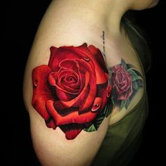 Rose tattoo by with ・・・ Did a rose coverup with a rose. Tatoo Rose, Rose Drawing Tattoo, Watercolor Rose Tattoos, Drug Tattoos, Body Art Tattoos, Sleeve Tattoos, Pretty Tattoos, Beautiful Tattoos, Cool Tattoos