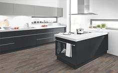 Laminate kitchen units in 'Light Grey' & 'Graphite'.