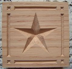 Carved wood Star Rosette Corner Block with Border in red oak