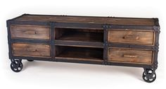 rustic Roller Cart TV Console Table - from Crow's Nest
