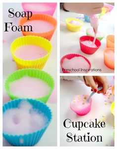 Soap Foam Cupcake Station – Preschool Inspirations An imaginative dramatic play activity that's also highly sensory and works on fine motor skills! Fun for kids of all ages! Bubble Activities, Infant Activities, Preschool Activities, Cutting Activities, Motor Activities, Summer Activities, Outdoor Activities, Sensory Tubs, Sensory Play