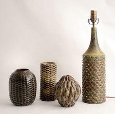 Axel Salto for Royal Copenhagen. Stoneware. Budding vase with brown matte glaze, 1951; Budding vase with Sung glaze, 1951;Budding vase with Sung glaze, 1955; Lamp base in the budding style, with solfatara glaze, 1969-70.