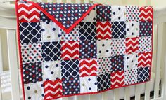 The George Quilt, Americana Collection, baby quilt, crib quilt, red, white, blue, stars, 4th of July, nursery bedding, baby blanket, America