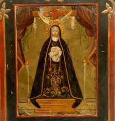 This very rare 19th century oil on tin retablo represents 'Nuestra Señora de Soledad' (Our Lady of Solitude) - the patroness saint of Oaxaca. Displayed in a han