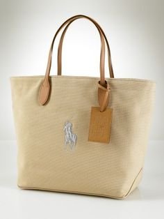 549db13dc0 Polo Ralph Lauren Canvas and Leather Pony Tote-Sand Wholesale Bags